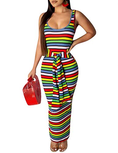Striped Rib Knit Tanks - Remelon Womens Sexy Tank Sleeveless Ribbed Knit Rainbow Stripe Print Tie Waist Bodycon Party Maxi Long Dress Green S