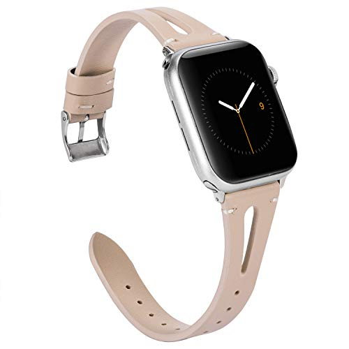 Wearlizer Beige Leather Compatible with Apple Watch Bands 38mm 40mm iWatch Womens Mens Special Triangle Hole Sports Straps Wristband Cool Replacement Bracelet (Metal Silver Buckle) Series 4 3 2 1