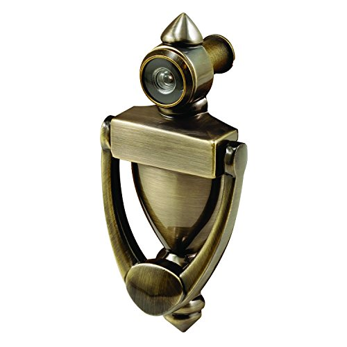 Prime-Line MP4235 Door Knocker & Viewer, 9/16 in. Bore, 160-Degree View Angle, Antique Brass, Pack of 1