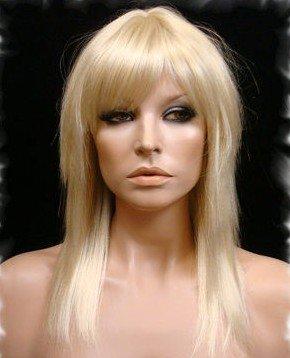 Amazon Com Stick Straight Medium Length Wig Wigs With Wispy Bangs