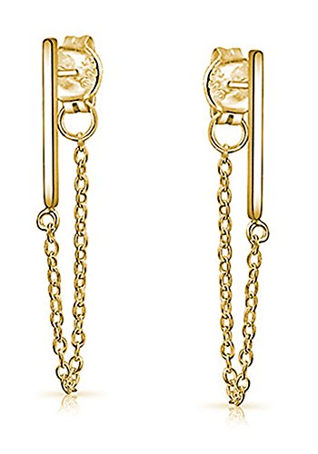 14k Contemporary Earrings (18K Gold over Sterling Silver Bar Studs with Chain)