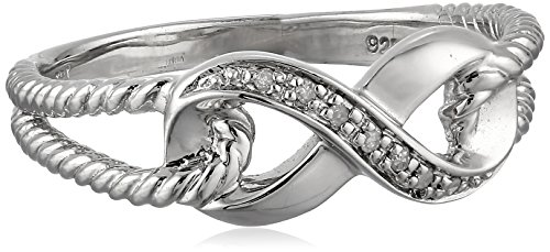 Sterling Silver Infinity Rope Diamond Ring (0.02 cttw, I-J Color, I2-I3 Clarity), Size 6 (Infinity Diamond Rings For Women)