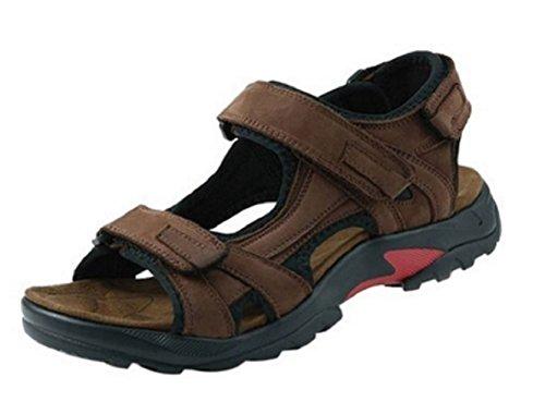 Leder Beach Herren Sandalen Braun Klettverschluss Outdoor Schuhe Haken und Loop