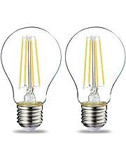 Amazon Basics Led E27 Edison schroeflamp, 7 W (gelijk aan 60 W), doorzichtige gloeidraad - Set van 2