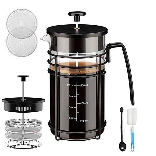 Chrider French Press Coffee Maker (32 oz 8 Cups) Coffee Press with 304 Stainless Steel 4 Level Filtration System, Precise Scale Easy to Clean Durable Heat Resistant Borosilicate Glass - ()