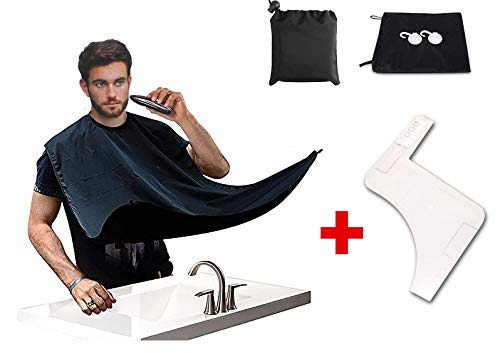 Beard Bib with Fine Beard Shaper, Beard Apron Kit Beard Catcher Cape for Easy Clean and shaving Without the Mess. Professional Premium Salon Quality Material, Water Repellent and Static-Free, Black by Elite Supplies