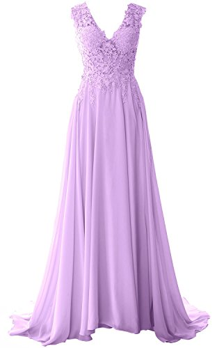 MACloth Elegant V Neck Long Prom Dress Vintage Lace Chiffon Formal Evening Gown Lavendel Bc2Pz7r