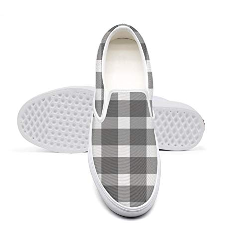Women Girls Lazy Canvas Slip-On Shoes Classic Black and White Checkered Popular Custom Running Loafers]()