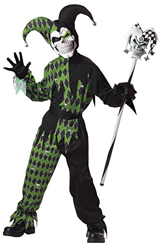 Boy's Evil Jester Outfit Jokes on You Funny Theme Child Halloween Costume, Child XL (12-14) Black/Green -