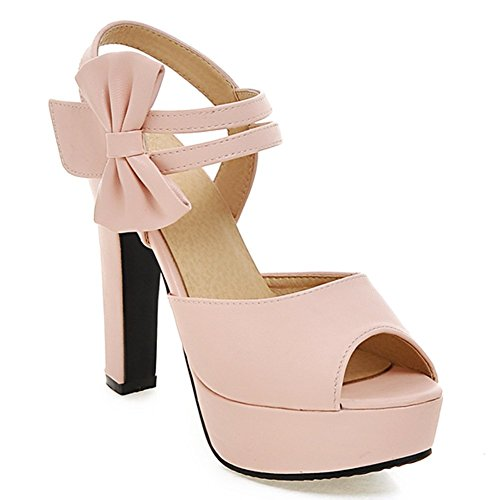 Summerwhisper Womens Trendy Bowknot Velcro Ankle Strap Peep Toe Chunky High Heel Platform Sandals Pink 4 5 B M  Us