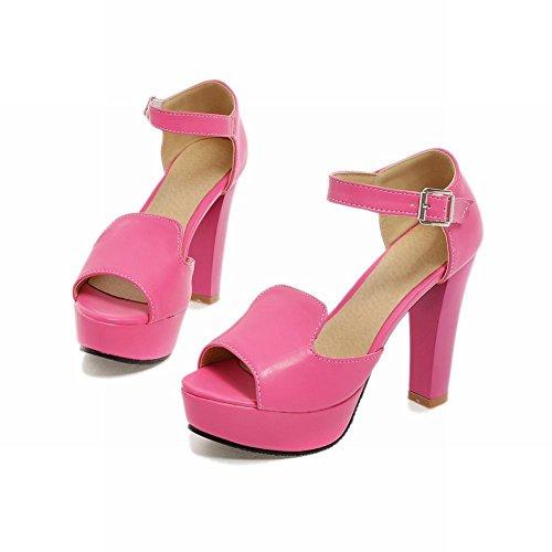 Zool Zoete Dames Mode Elegantie Gesp Charmes Peep Toe Platform Hoge Dikke Hak Sandalen Rose Rood