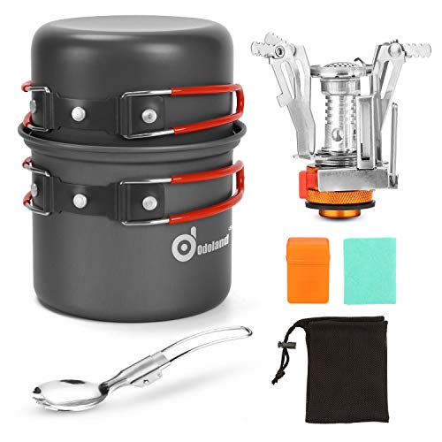 Odoland 6pcs Camping Cookware Mess Kit with Lightweight Pot