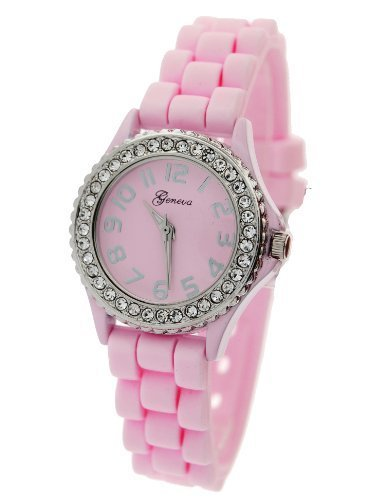 Geneva Women's Pink Silicone Designer Watch with Baguette Stones (Geneve Movement)