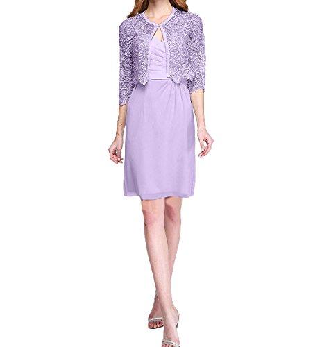 Abendkleider Langarm Jaket Partykleider Knielang Promkleider Brautmutterkleider Damen Lilac Elegant Etuikleider Charmant mit 6tqnC4wTx