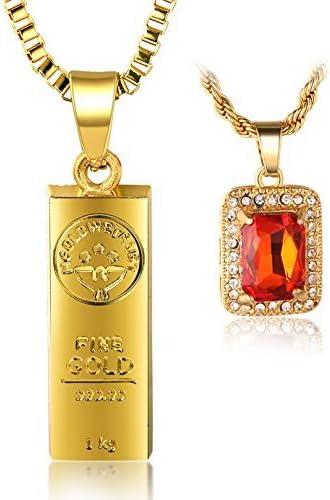 Halukakah ● In Gold We Trust ● Hombres 18K Oro Verdadero Plateado Barra de Oro Rubi Rojo Colgante Collar con Cadena de Cajas 30