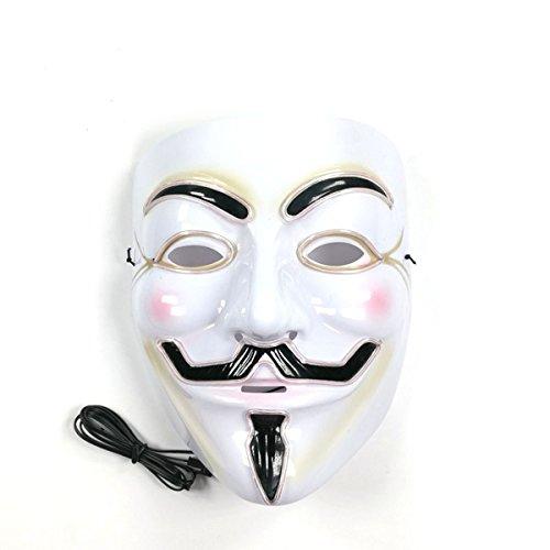 V para Vendetta Máscara LED Guy Fawkes Máscara anónima Halloween ...