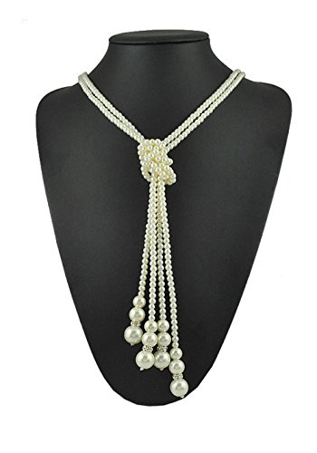 1920s Pearls Necklace Gatsby accessories Vintage Costume Jewelry Faux Ivory Pearl Cream Extra Long Necklace For Women (Ivory Pearl Necklace)