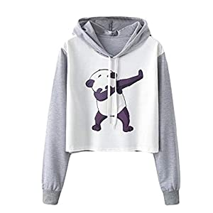 Challyhope Women Girls Hoodies Cute Panda Print Raglan Long Sleeve Drawstring Hooded Sweatshirt Tops