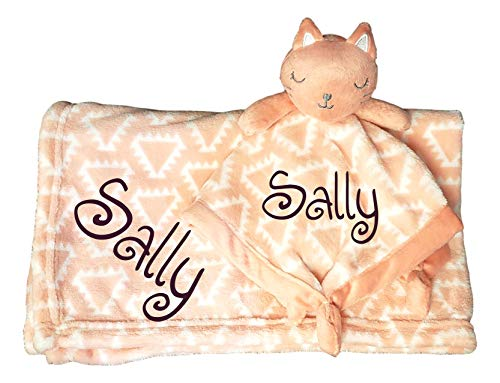 Custom Embroidered Personalized Name Baby Blanket (30 x 40 inch) with Kitten Cat Lovey Security Blanket (Coral Kitty - Embroidered ()