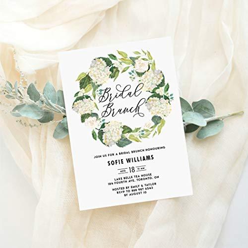 Hydrangea Bridal Shower Invitations - Dozili Floral Bridal Brunch Invitation Watercolor White Hydrangeas Wreath Bridal Brunch Invitation Editable