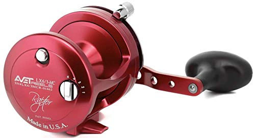 AVET LX6/3 MC Raptor Red Lever Drag Conventional Reel