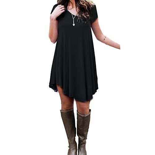 48bd5ae3001d on sale POSESHE Women s Short Sleeve Casual Loose T-Shirt Dress ...