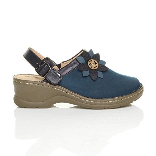 Ajvani Womens Ladies mid Block Heel Flower Comfort Slingback Clogs Mules Sandals Size Navy Blue MbS9p