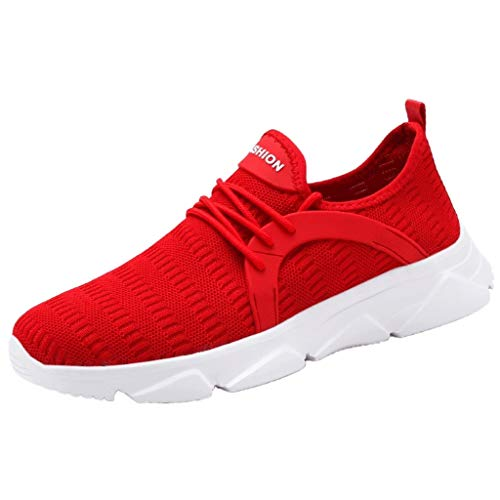 Bralonees Men's Lightweight Mesh Sneakers Fashion Woven Running Shoes Casual Summer Fitness Breathable Non-Slip Sports Red