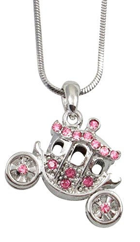 Princess Pumpkin Carriage Stagecoach Fairy Tale Charm Pendant Necklace Little Girls, Teens, Granddaughter Jewelry Gift, Halloween, Christmas, Birthday Present, Fits Cinderella Costume (Pink) ()