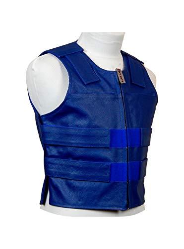 Royal Blue Leather - Ladies Bulletproof Style Motorcycle Vest (XL)
