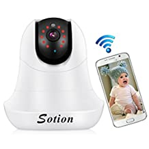 SOTION Baby Monitor Super HD Internet WiFi Network Wireless IP Security Surveillance Video Camera System, Pet and Nanny Monitor with Pan and Tilt, Two Way Audio & Night Vision
