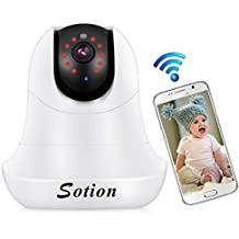 SOTION Baby Monitors Wireless WiFi Internet Network IP Surveillance Security Video Home/Indoor Camera System, Baby and Pet Monitor with Pan and Tilt, Two Way Audio & Night Vision