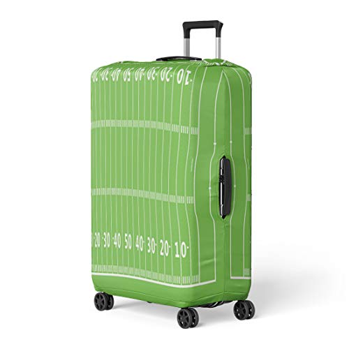 Gridiron Post Game - Pinbeam Luggage Cover Green Line American Football Field Gridiron Pattern Goal Travel Suitcase Cover Protector Baggage Case Fits 18-22 inches