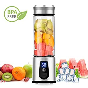 Portable Blender - ALROCKET Smoothie Blender Personal Blender USB Rechargeable Travel Blender Juicer with 6 Blades - Outdoor Travel Home Office,BPA ...