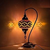 Turecka mozaika lampa stołowa, oszałamiający marokański styl, unikalny klosz, seria szyi łabędź (nieskończona tęczy)
