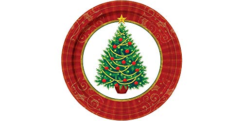 amscan Twinkling Christmas Tree Paper Plates Value Pack,