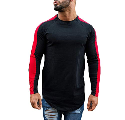 Men's Fitness T-Shirts Long Sleeve Crew Neck Sleeve Stripes Sweatshirt (L, Black with Red Stirpes)