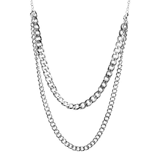Qiji Heavy Metal Chunky Chain Necklace Linked Costume Sweater Jewelry Accessories (Silver Color)