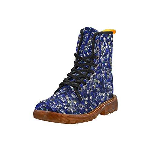 Leinacht Sprankelende En Glinsterende, Blauwe Martin Laarzen Modieuze Schoenen Voor Dames