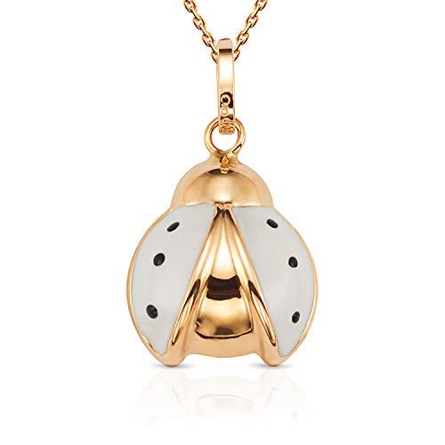 (Jewel Connection Beautiful 14K Yellow Gold Open Wing Flying Enamel Ladybug Pendant Necklace with 18