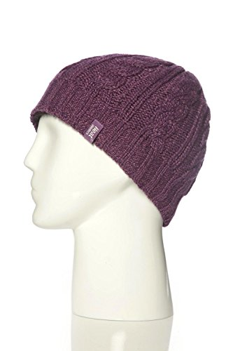 Heat Holders - Women's Thermal Fleece Cable Knit Winter Hat 3.4 Tog - One Size (Purple)