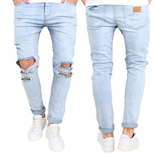 Design Uomo Taglio Denim Modello Distrutti Aderente Colour Jeans Pocket Slim Strappati Da Fit Rotto aFq1x