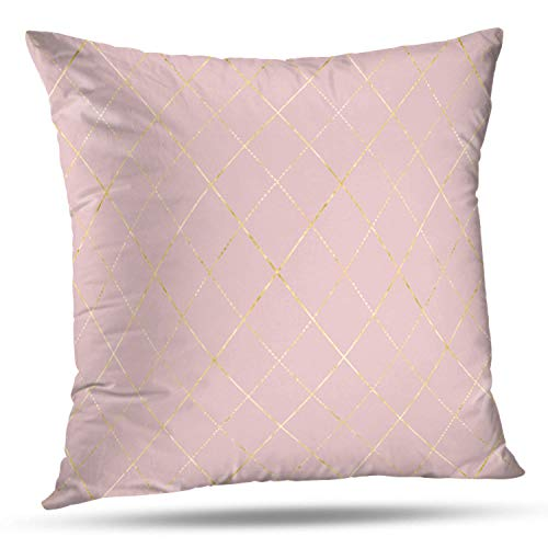 Darkchocl Decorative Throw Pillow Covers Argyle Geometric Yellow Gold Metal Plaid Golden Metallic Ornament Pink Square Pillowcase Cushion for Couch Sofa Bed Cotton and Polyester 18
