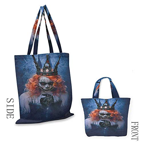 Shopping Bag QueenQueen of Death Scary Body Art Halloween Evil Face Bizarre Make Up Zombie Navy Blue Orange Black18
