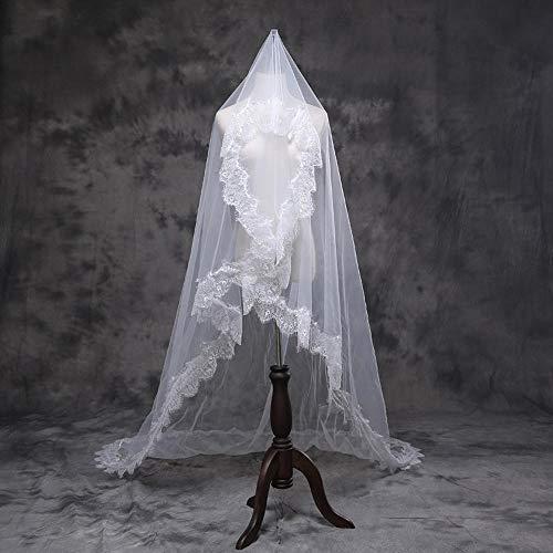 kaige Bridal Veil Veil Headband,Bridal Wedding Veil Rice White Eyelash lace Wave lace Big Head Yarn Cover face Yarn