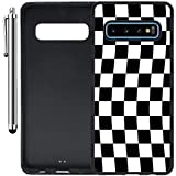 Custom Case Compatible with Galaxy S10 (Checkered Flag Finish Line) Edge-to-Edge Rubber Black Cover Ultra Slim   Lightweight   Includes Stylus Pen by Innosub