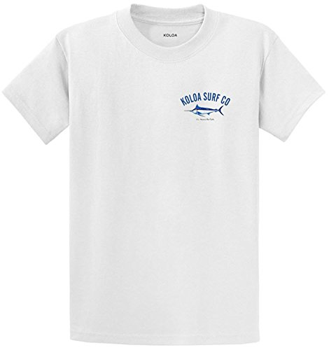 Koloa Surf Blue Marlin Logo Heavyweight Cotton T-Shirt-White/c-3XL ()