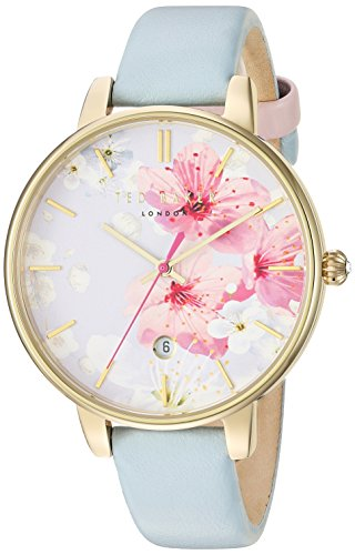 Ted Baker Women's Kate Stainless Steel Japanese-Quartz Watch with Leather Strap, Blue, 14 (Model: 10031546)