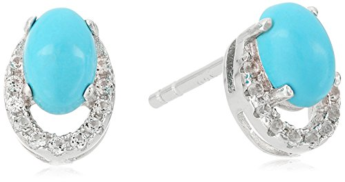Sterling Silver Stabilized Natural Turquoise And Created White Sapphire Stud Earrings
