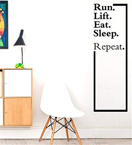 Marydecals Vinly Art Decal Words Quotes Run.Lift.Eat.Sleep.Repeat.Wall Decal Quote Fitness Crossfit Art Decal Stickers]()
